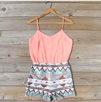 romper coral girl tribal pattern girly summer