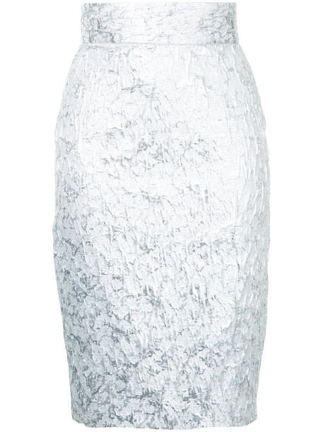 Bambah skirt pencil skirt women cotton grey metallic