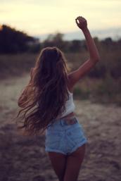shorts,summer,beach,brunnette,hair,curly hair,waves,wavy,tan,denim,light blue,blue,sand,cute,tumblr,tank top,white,creme,perfect