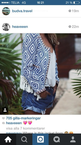 jacket blue jacket blue blouse white top top summer top