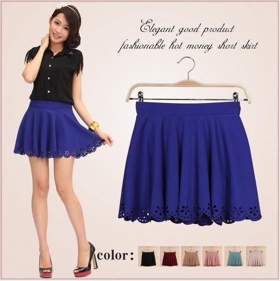 New Women Girls' Summer Dress Hollow Out A Line Skirts Pleated Solid Mini Skirts | eBay