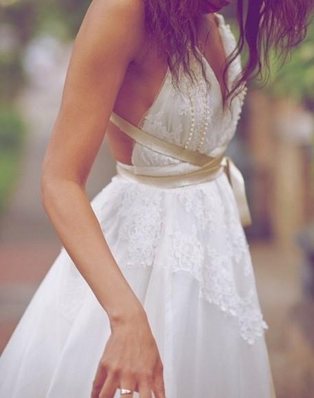 lace dress boho dress lace wedding dresses gold ribbon