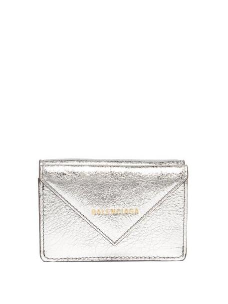 metallic purse silver leather bag