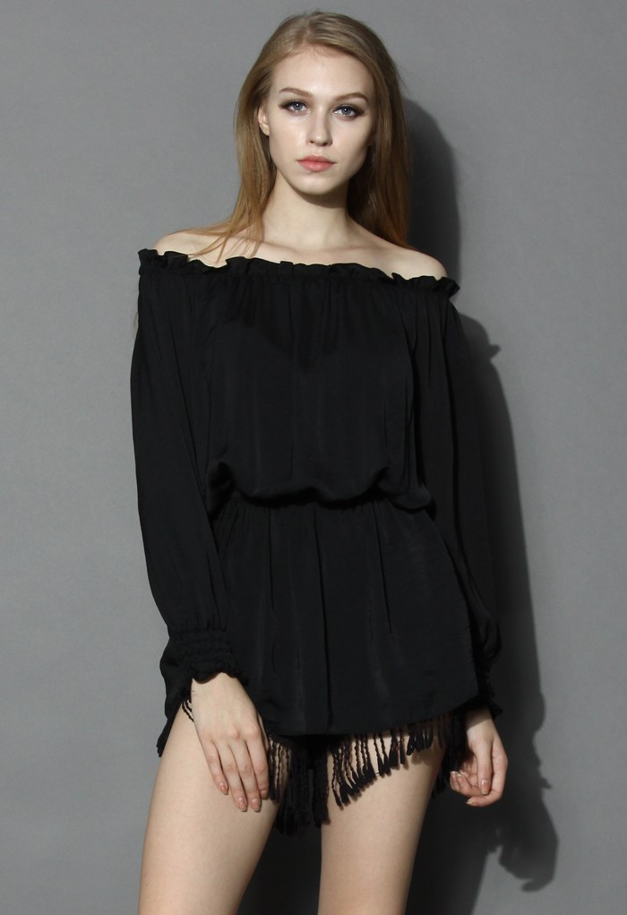 Ruffled Elastic Off-shoulder Tunic - Retro, Indie and Unique Fashion