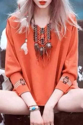 top orange gypsy long sleeves boho fashion style trendy summer