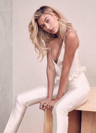 pants top blouse hailey baldwin editorial model