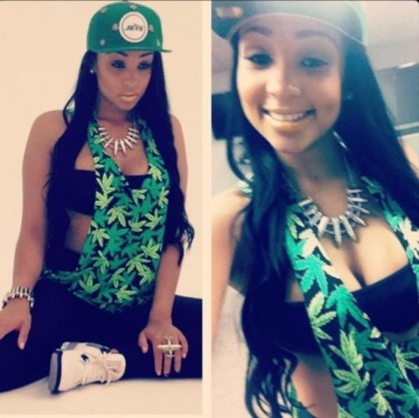 tank top weed green black snapback jewels air jordan swag dope blouse