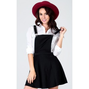 Black Cross Back Overall Skater Skirt |  MakeMeChic.com