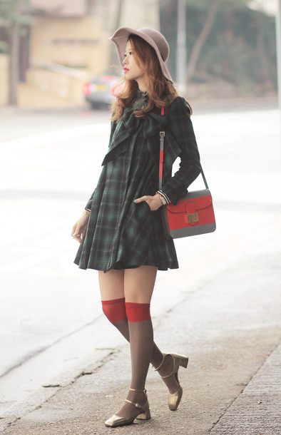 mellow mayo blogger knee high socks gold shoes tartan floppy hat red bag long sleeve dress