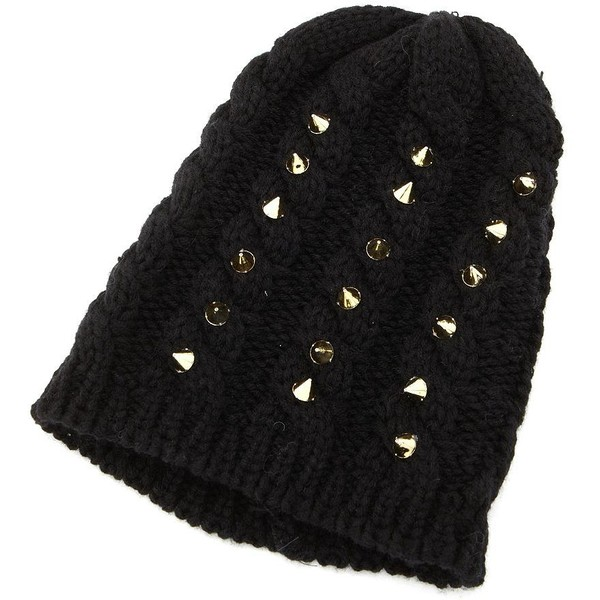 Spiked Cable Knit Beanie - Charlotte Russe - Polyvore