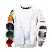 sweater,sweatshirt,top,long sleeves,painting,colorful,white,crewneck