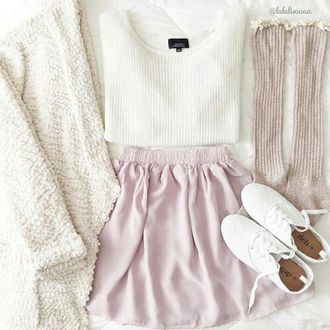 blouse white cardigan cute cardigan soft colours skirt socks coat