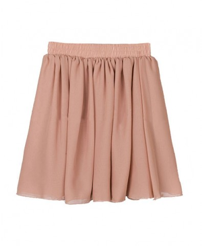 Vintage Pink Full Pleated and High Waist Chiffon Mini Skirt