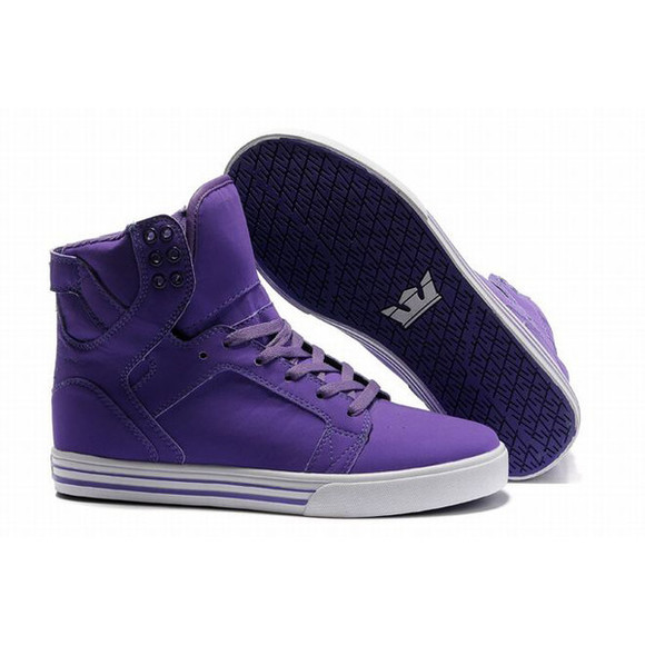 shoes purple high tops supras