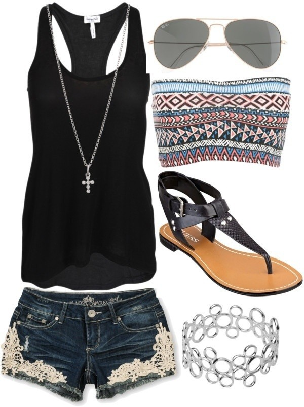tank top black tank top shorts sandails undershirt underwear shoes shirt lace blouse jeans black tank top belt top clothes bandeau top sunglasses jewels bandeau lace shorts black top denim denim shorts swimwear almost famous dress summer shorts outfit