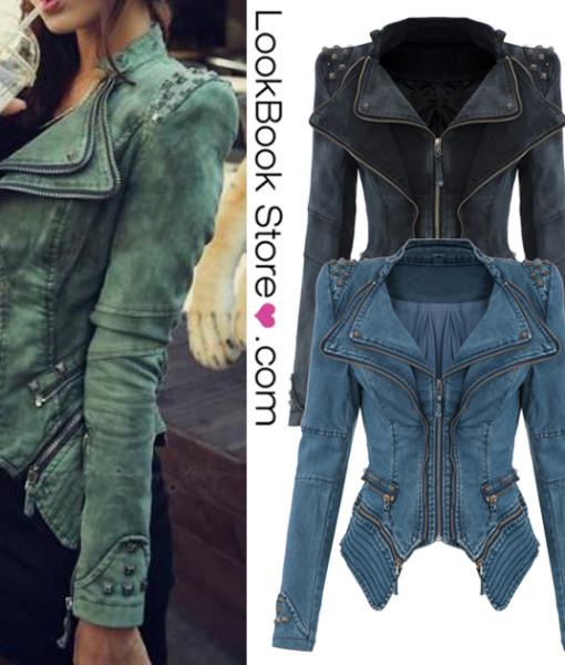 Sharp Power Studded Shoulder Notched Lapel Denim Jeans Tuxedo Coat Blazer Jacket | Amazing Shoes UK