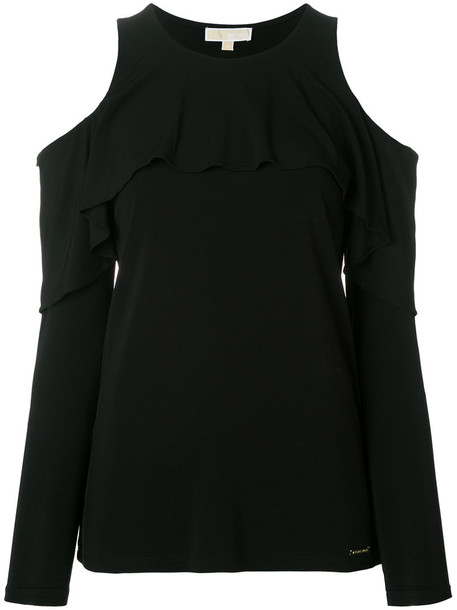 MICHAEL Michael Kors top ruffle women spandex cold black