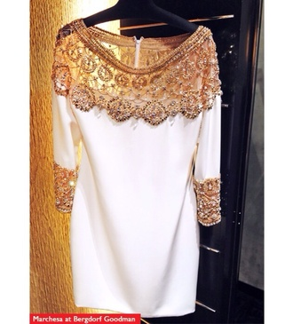 dress marchesa gold white