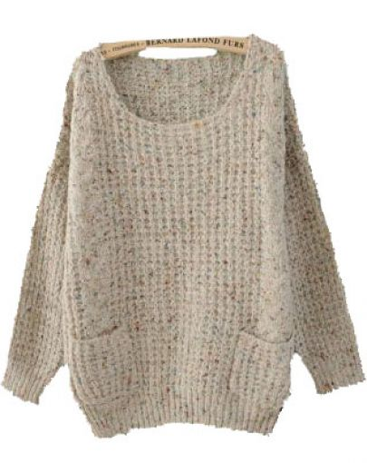 Grey Round Neck Long Sleeve Pockets Embellished Sweater - Sheinside.com