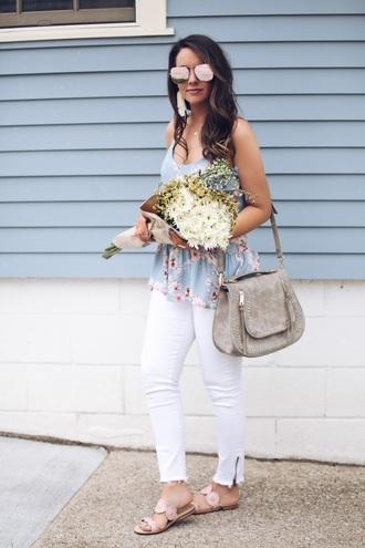 fashionably kay blogger tank top shoes sunglasses bag jewels shoulder bag grey bag blue top sandals white pants spring outfits