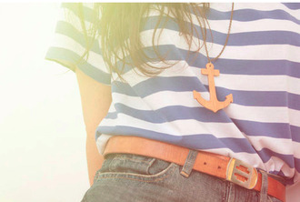 shorts jewels waist belt high waisted shorts anchor striped shirt
