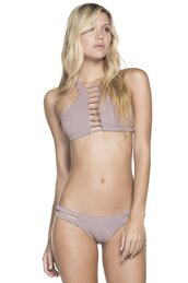 swimwear,suede swimwear,beige bikini set,agua bendita,adjustable top,bikiniluxe
