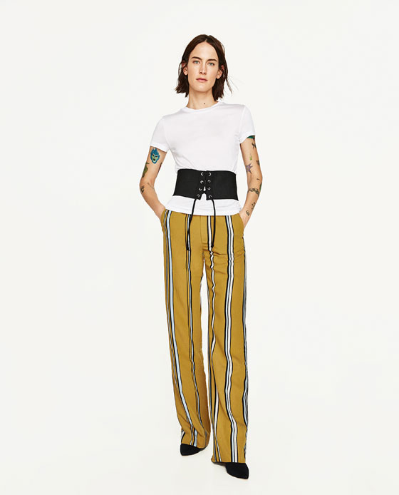 STRIPED PALAZZO TROUSERS - View All-TROUSERS-WOMAN | ZARA United States