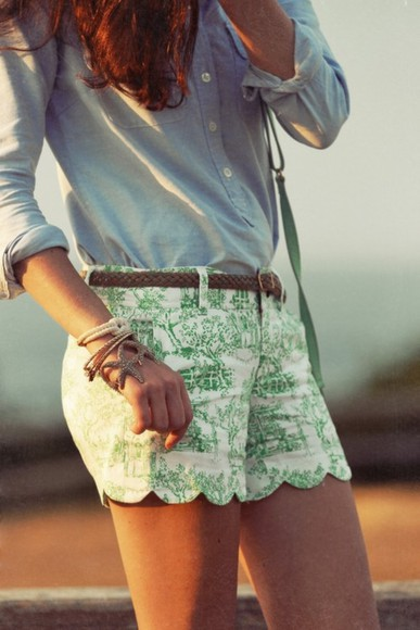 green shorts shorts white and green shorts summer outfit