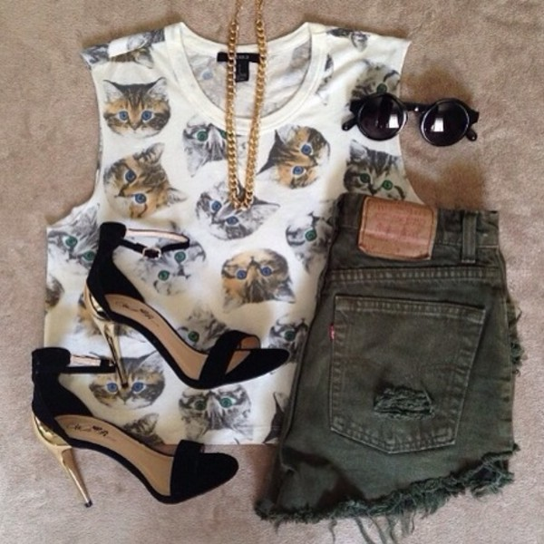 blouse cats cats cute lovely shoes shorts jewels tank top black shoes sunglasses shirt white pattern cat tank top gold chain High waisted shorts top