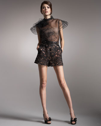 Valentino - Rose Layered Tulle Blouse, Chain Belt & Leather-Trim Lace Shorts - Bergdorf Goodman