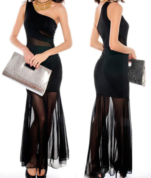 dress gown long black see through sheer long dress little black dress