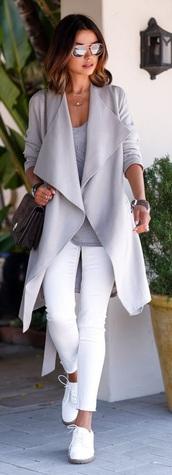 coat,grey,waterfall coat,minimslist,shoes,jacket,sunglasses,women,fashion,grey coat,white jeans,grey trench coat,trench coat,viva luxury,blogger,grey top,jeans,sneakers,white sneakers,mirrored sunglasses,bag