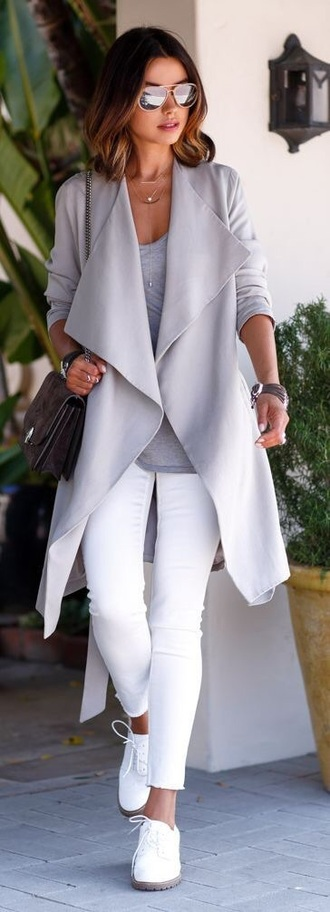 coat grey waterfall coat minimslist shoes jacket sunglasses women fashion grey coat white jeans grey trench coat trench coat viva luxury blogger grey top jeans sneakers white sneakers mirrored sunglasses bag