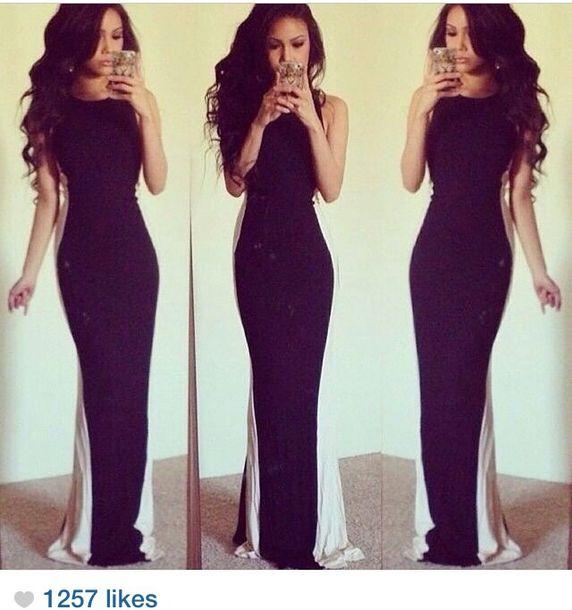Dress White Sides Long Dress Black Elegant Dress Elegant Instagram