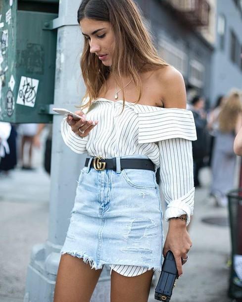 Shirt belt skirt mini skirt denim skirt tumblr white for How to get foundation out of a white shirt