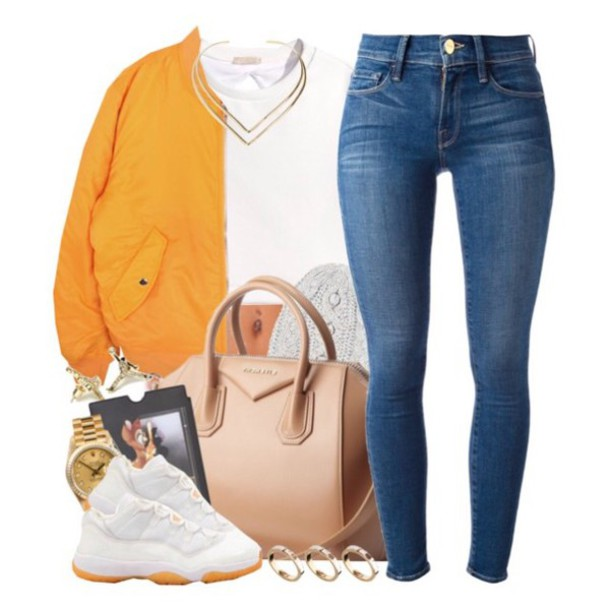 jacket sneakers jewels jeans jordans bag shoes blue jeans orange white watch knuckle ring