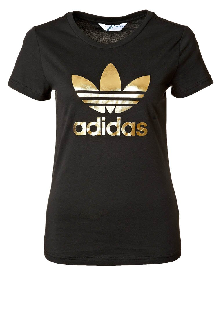 adidas originals trefoil print t shirt black metallic. Black Bedroom Furniture Sets. Home Design Ideas