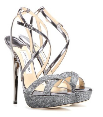 glitter sandals leather grey shoes