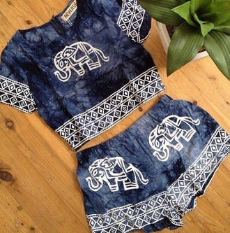 shirt elephant blue booho indie oriental asia india hippie shorts