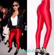 american apparel,red,pants,leggings,style,fashion,celebrity style,amber rose