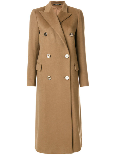 TAGLIATORE coat long coat double breasted long women brown