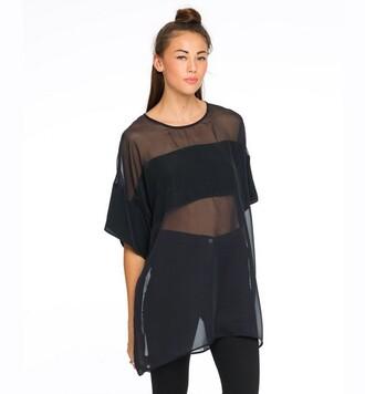t-shirt mesh black top swag see through sheer shirt