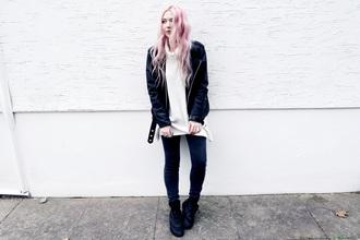 kayla hadlington blogger jacket sweater jeans