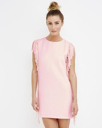 dress fringe fringed dress pink pink dress