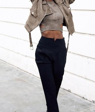 suede jacket brown jacket black pants