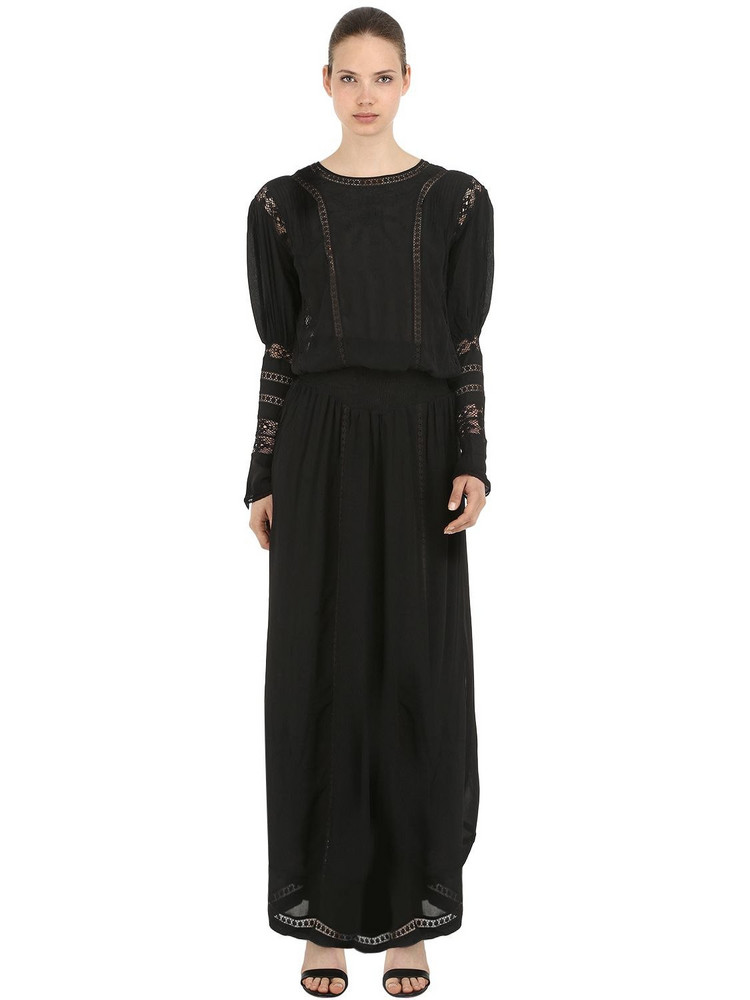 CC BY CAMILLA CAPPELLI Viscose Long Dress W/ Lace Details in black