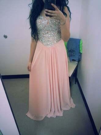 dress light pink dress pink dress prom dress prom gown sequin dress peach dress long dress strappless dress