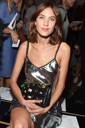dress,metallic,mini dress,alexa chung,silver,clutch,NY Fashion Week 2016