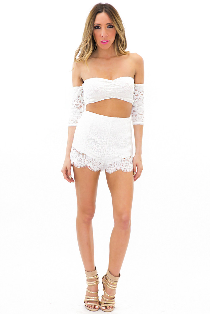 ESTER OFF SHOULDER LACE TOP - White | Haute & Rebellious