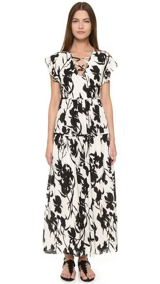 dress floral dress lace floral white black